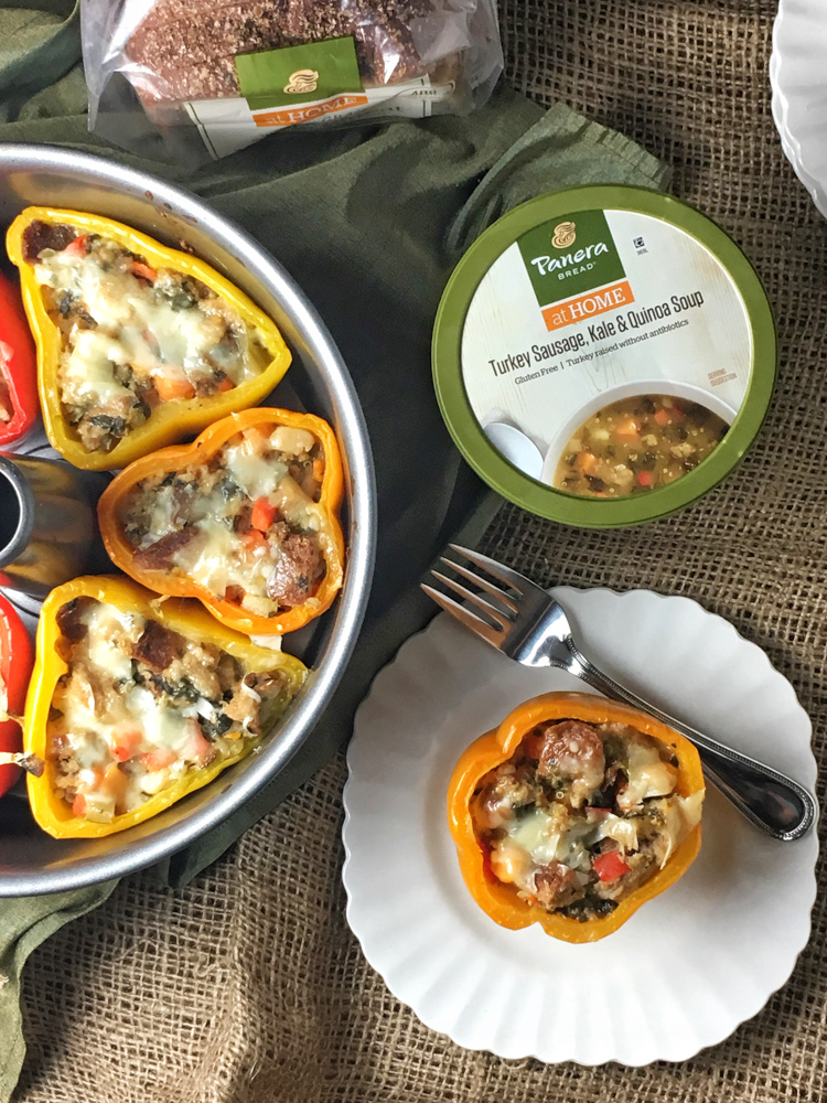 Turkey Sausage, Kale and Quinoa Stuffed Peppers