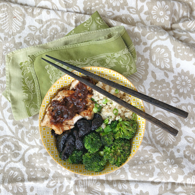 Prune Chicken Coconut Rice Bowls
