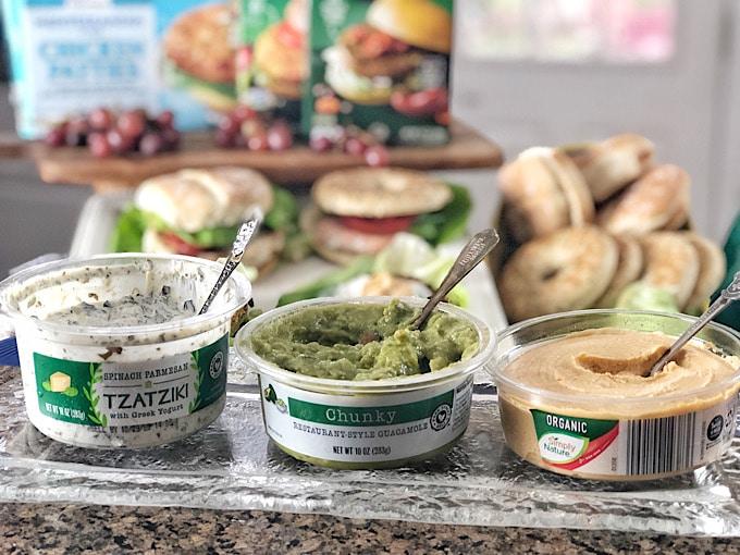 ALDI hummus, guacamole and tzatziki dips in containers