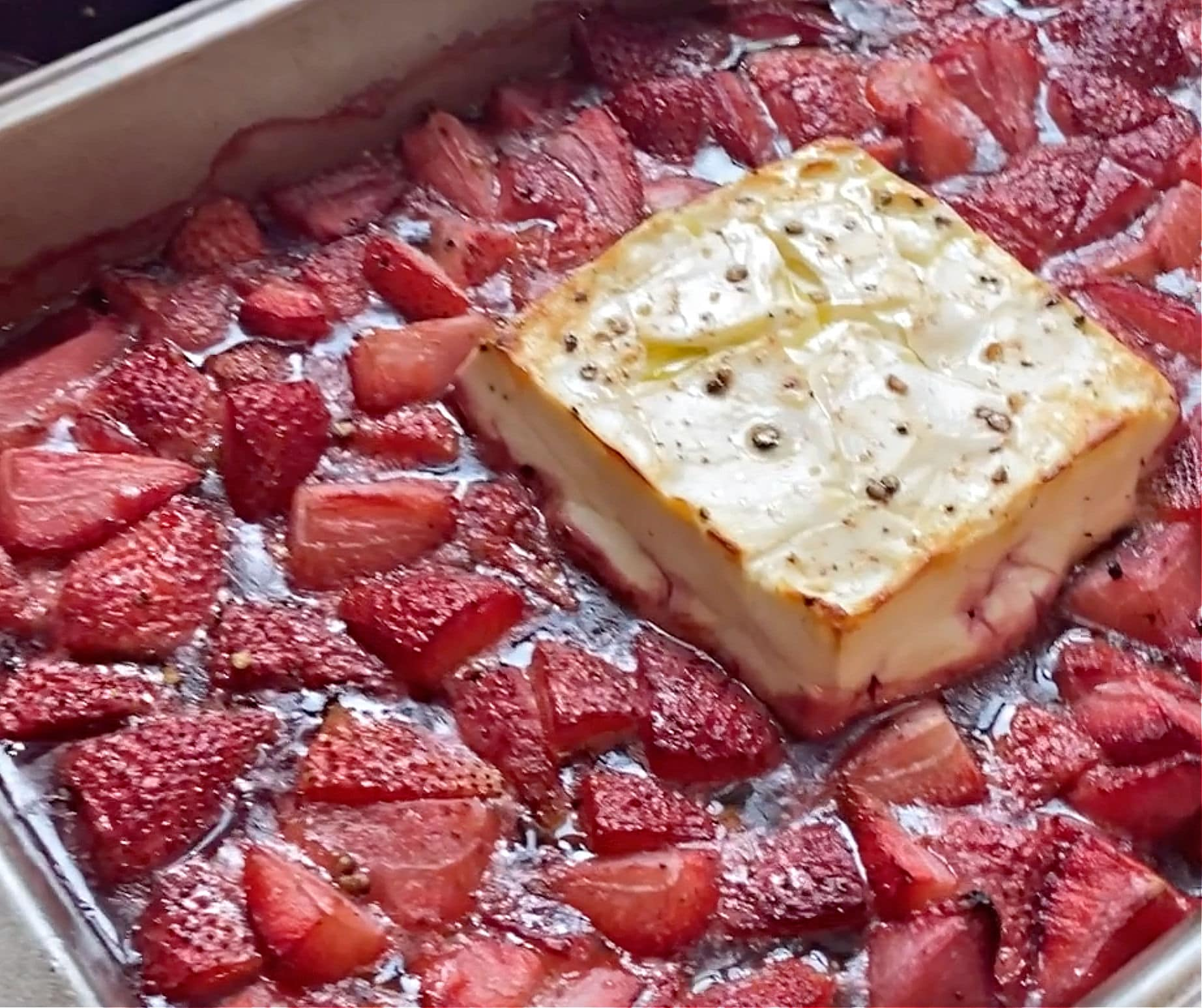 Strawberry Basil Feta Bake